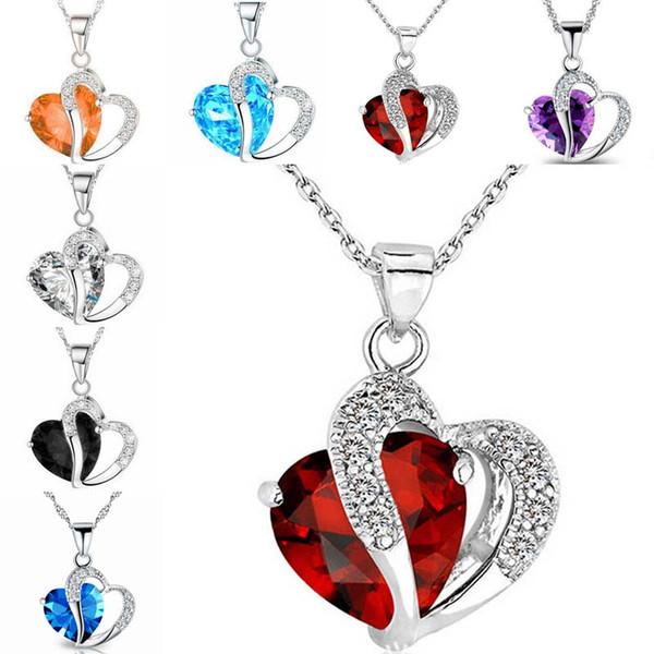 Azul rojo del Rhinestone collar cristalino del amor del corazón de los amantes de plata de la cadena de compromiso Collares