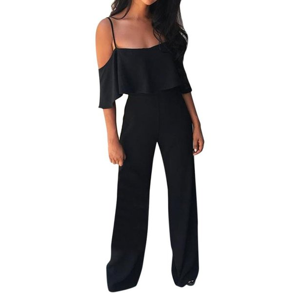 Office Lady Elegant Jumpsuit Summer Women Off Shoulder Ruffles Sexy One Piece Outfits Womens Casual Long Jumpsuits Trouser #Ni