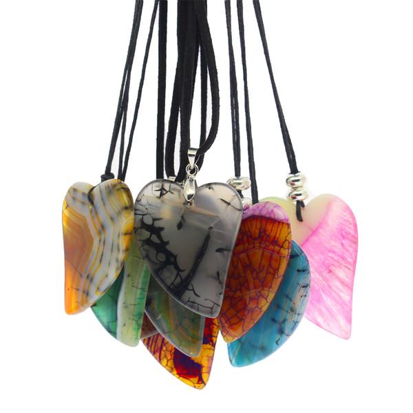 Fashionable natural gem pendant DIY multicolor heart-shaped agate stone slices leather pendant