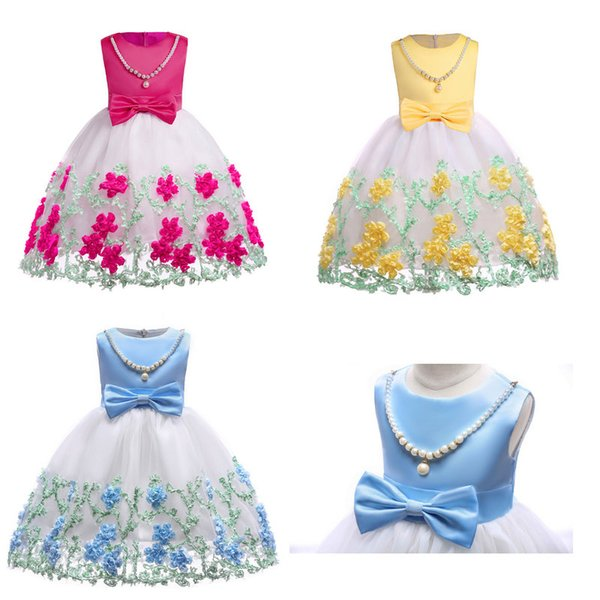 Baby Girls wedding dress With Bow Pearl Necklace 2019 Kids Embroidered Satin+Gauze Prom Dress Children Girls Full dress Boutique clothes