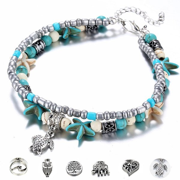 top popular 2019 Turquoise Starfish Beach Pendant Ankle Bracelets Anchor Anklert For Women Fashion Jewelry Alloy Silver Double-layer Free Shipping NICE 2019