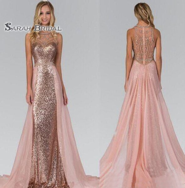 2019 Rose Gold Sequined Bridesmaid Dresses With Overskirt Train Illusion Back Formal Maid Of Honor Wedding Guest Party Evening Gowns