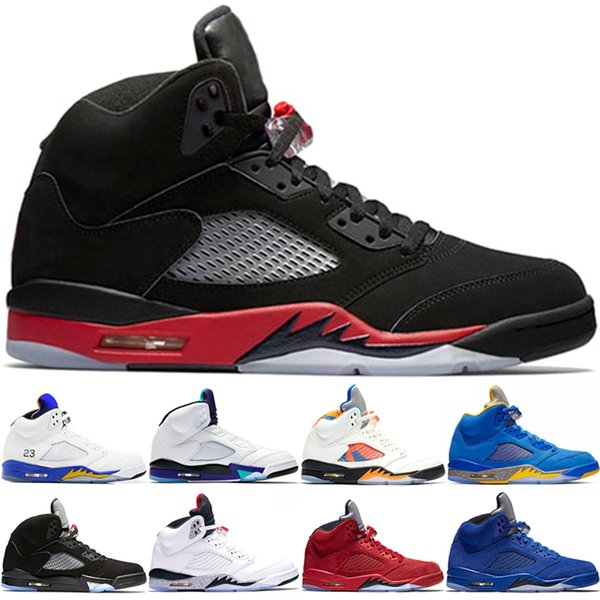 5s 5 Mens Basketball Shoes Blue Suede Bred Fresh Prince Laney White Men Trainer Sports Sneakers Designer Cheap Size 8-13 Online Sale