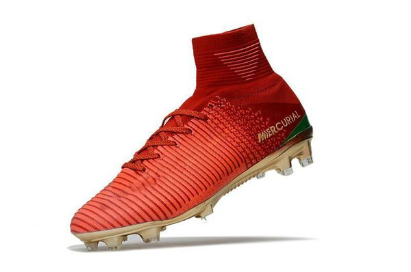 Soccer Red Gold Children Original Cleats Mercurial Superfly CR7 Kids Soccer ShoeV8 Outdoor Cristiano Ronaldo Womens Football Boots