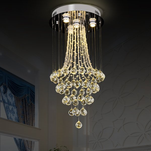 2019 new Modern round Crystal Chandeliers Light Fixture for Lobby Staircase Chandelier Long Crystal Light Lustre Ceiling Lamp AC 110-220V