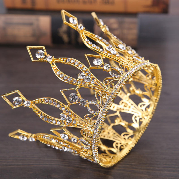 Gold Color Queen King Tiara Crown Baroque Retro Tiaras and Crowns Pageant Crown Princess Prom Hair Jewelry accessories D19011106