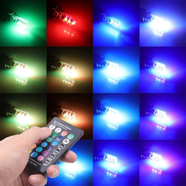 Luce di segnalazione per auto T10 RGB W5w 12V Lampada per interni a luce automatica con telecomando 1 Set