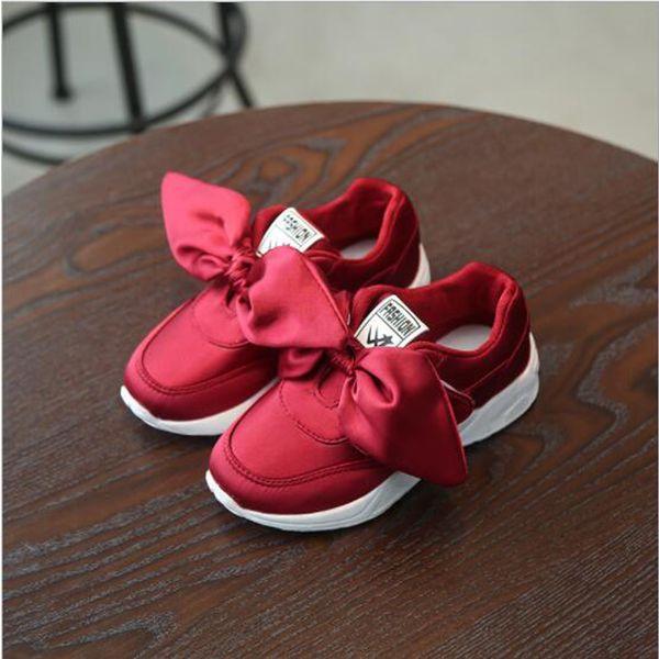 Çocuk Ayakkabıları 2019 İlkbahar Bow Prenses Kız Sneakers Çocuk Günlük Spor Ayakkabı Pembe Kırmızı Moda Kız Koşu ayakkabısı yeni