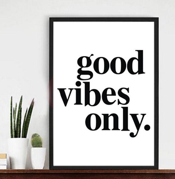 Compre Citações Motivacionais Boas Vibrações Apenas Canvas Imprimir Parede Poster Imagem Para Casa E Escritório Decoração De Arte De Wlz900514 2 62