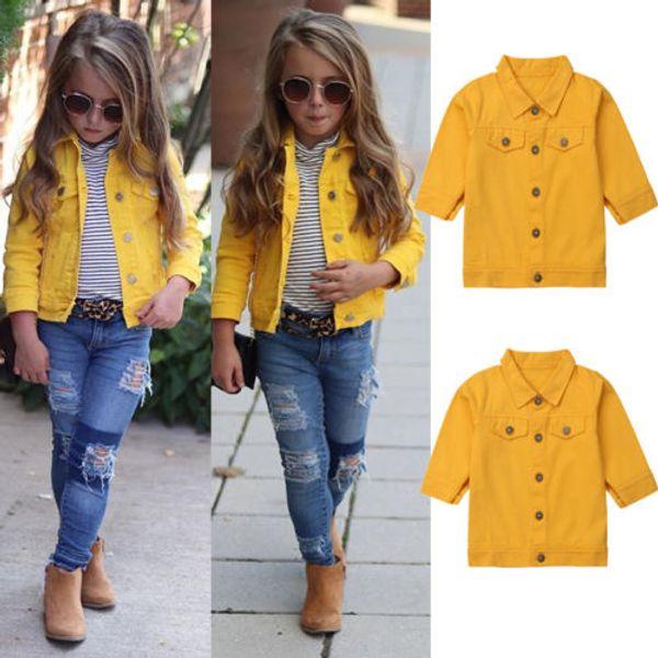 Мода ребёнки Желтый джинсовой куртки с длинным рукавом пальто Верхняя одежда для новорожденных девочек Одежда Kid Одежда малыша