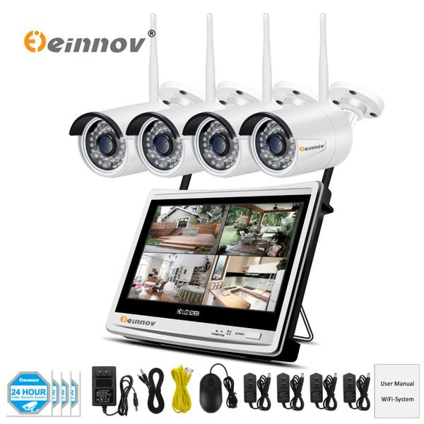 Einnov 4Ch HD 960P 1.3MP Wireless Wifi CCTV Security Camera System Vedio Surveillance NVR Kit 12 inch LCD Monitor Camera ip Set