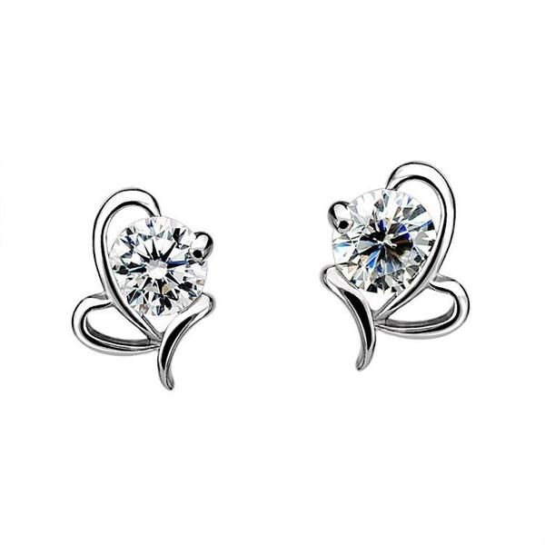 925 sterling silver Butterfly heart-shaped Zircon Earrings Korea Europe for Women jewelry Factory price sales Not fade