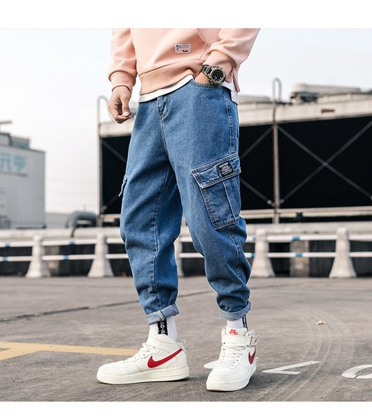 Zogaa Mens Jeans Pants 2019 New Streetwear Blue Hip Hop Pockets Overalls Cargo Pants Male Loose Cool Denim Harem Jeans Mid Waist