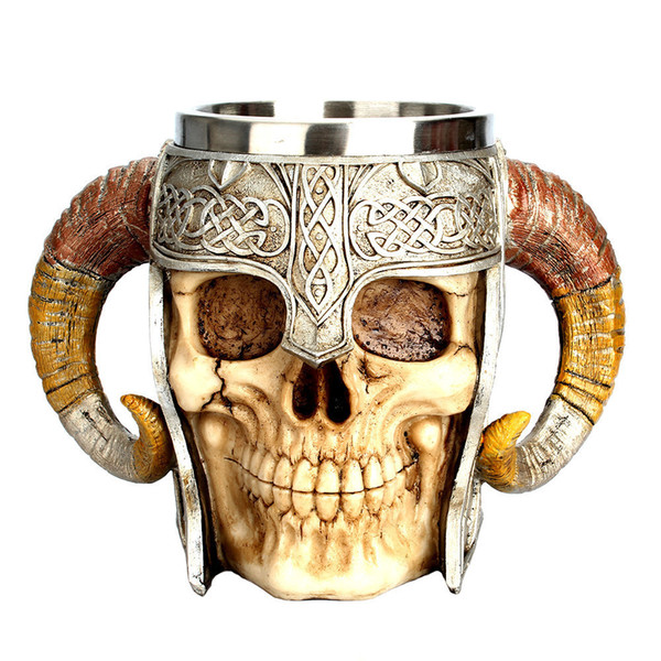 2018 New Style Coffee Mug Resin Striking Warrior Tankard Viking Skull Double Wall Christmas Cup Dropshipping Item C19041302