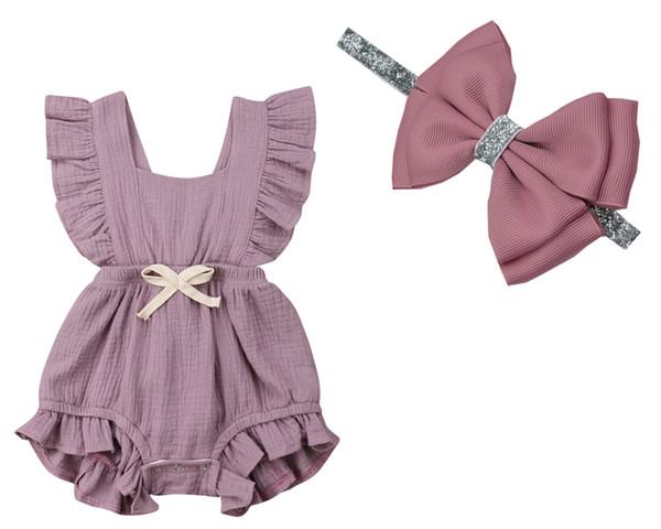 HOT 6 Farbe Baby Mädchen Rüschen Einfarbig Overall Outfits Sunsuit (stirnband + spielanzug) für Neugeborene Kleidung Kinderkleidung 1 satz / 2 stücke