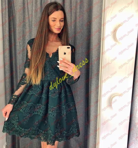 2019 sexy elegante plus size vestidos de noite de manga comprida menina negra africano árabe vestidos de baile curto