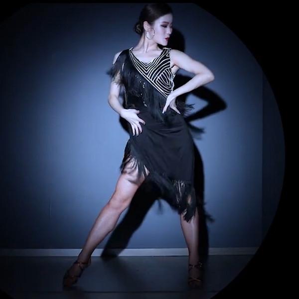 Lentejuelas vestido de estilo latino borla vestido de baile latino trajes de baile de samba tango salsa desgaste de la práctica