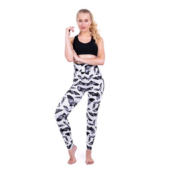 Girls High Waist Leggings Bats 3D Graphic Full Printed Full Length Yoga Wear Pants Women Sportwear Pencil Fit Lady Runner Trousers (Y600016)
