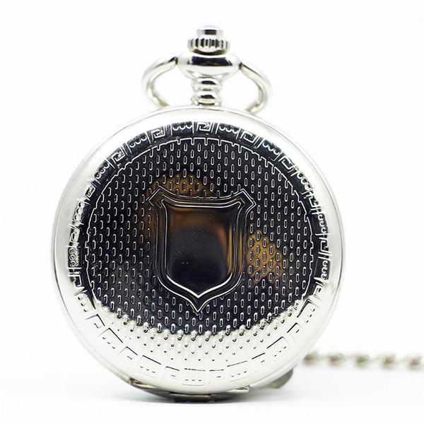 Fashion Luxury AntiqueVintage Mechanische Silber Taschenuhr Handaufzug Damen Herren Fob Clock Shield Pattern PJX1227