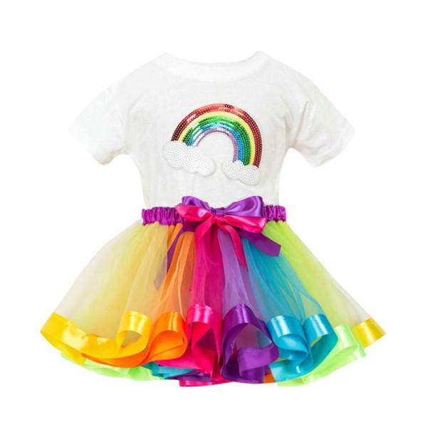 2PCS Summer Outfits Girl Costume Children Clothing Girls Rainbow Printing T Shirt + Girls Skirt Tutu Party Skirt Outfits Sets