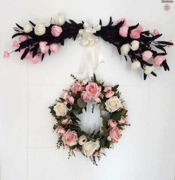 Handmade Grinalda Simulação Flor Porta Guarnição Do Casamento / Festa / Decoração de Casa Artificial Rose Guirlanda De Suspensão Porta Grinalda