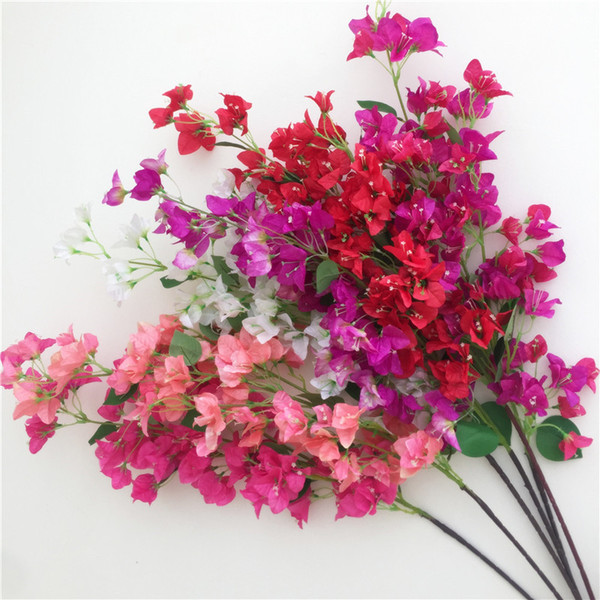 Artificial Bougainvillea Stems Silk bougainvillea spectabilis Flower Tree Branches pink/red/white/rose red/fuchsia for Wedding Centerpieces