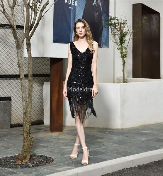 Abiti da sera di nuovo arrivo Corti Prom Dresses V-Neck paillettes nappa ginocchio cocktail di lunghezza abiti sexy partito formale Vestidos de fiesta
