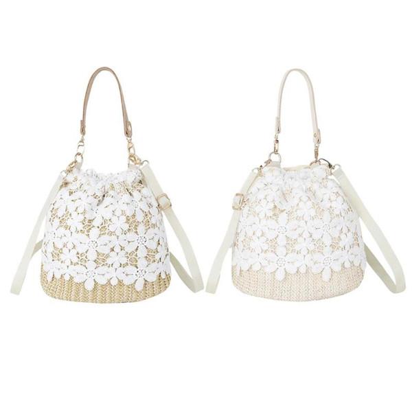 Lace Shoulder Messenger Bucket Handbags Women Straw Woven Small Drawstring Crossbody Top-handle Bags 2019 Hot Selling