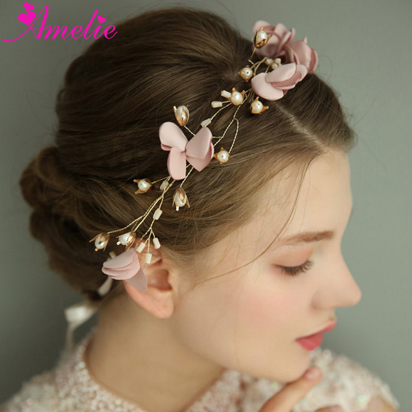 Photo Prop Bridal Hair Vine Accessories Pink Flower And Pearl Headpiece Hair Wreath Jewelry Tiara For Wedding Party