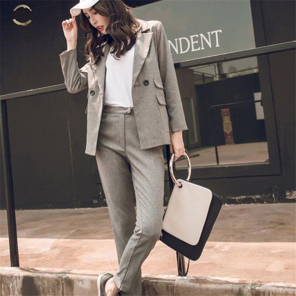 2 Imposta pezzo donne Grey Casual Blazer vita alta Pant Office Lady intaglio Jacket Pant Abiti coreana Suit Femme