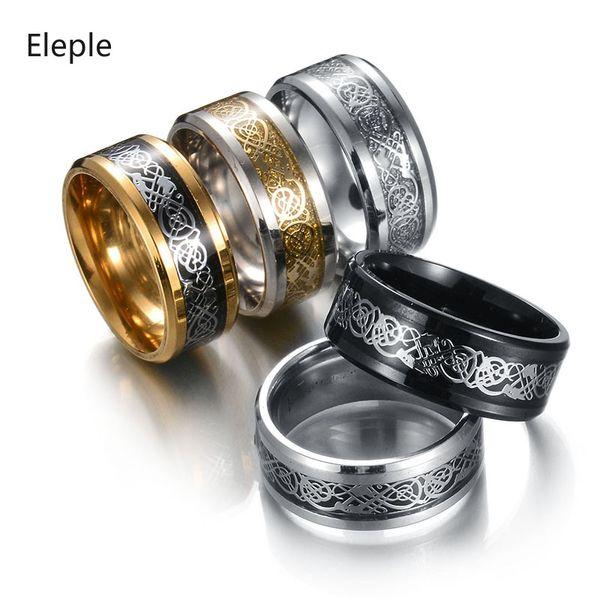 Eleple acciaio inossidabile colore decorativo modello anelli per gli uomini moda retrò anniversario gioielleria Dropshipping S-R57