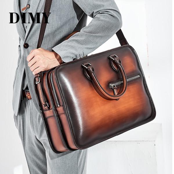 DIMY Hand Patina Leder Herren Aktentaschen Dutch Calfskin Handbag Business Bags Doppelreißverschluss Umhängetasche Für Herren