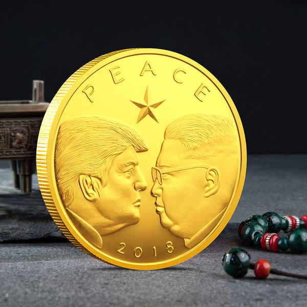 2020 دونالد ترامب التذكارية عملة السلام الرئيس الأمريكي كوريا الشمالية الرمزية عملات ذهبية فضية شارة جمع المعادن الحرفية