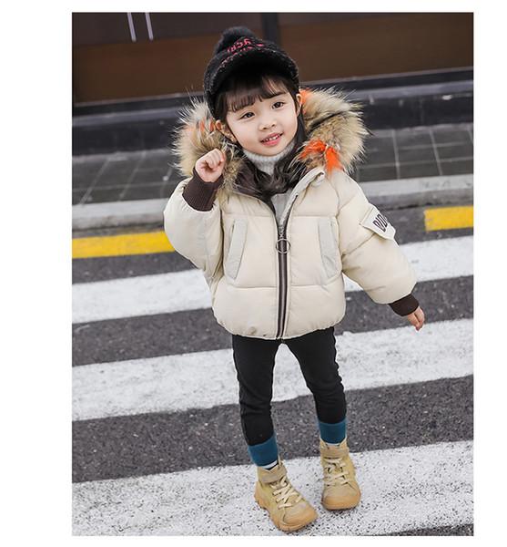 Casaco de inverno versão coreana dos meninos e meninas de roupas de algodão grande gola de pele espessamento infantil jaqueta de algodão jaqueta quente ins infantil