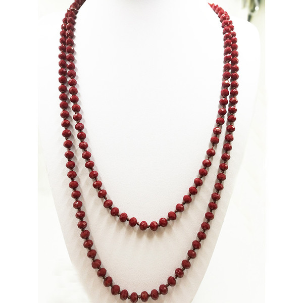 """Top Popular Handmake 60"""" Knotted Necklace Single Strand Faceted Black And Red Glass Crystal Gemstone Beads"""
