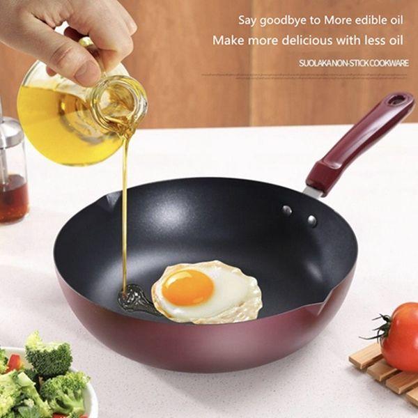 New 30cm *8 .5cm Non-stick Mat Bottom Frying Pan Easy Clean Non-stick Wok Custom Deeper Stew Smokeless Pot Reusable Cover For Flat Cookware