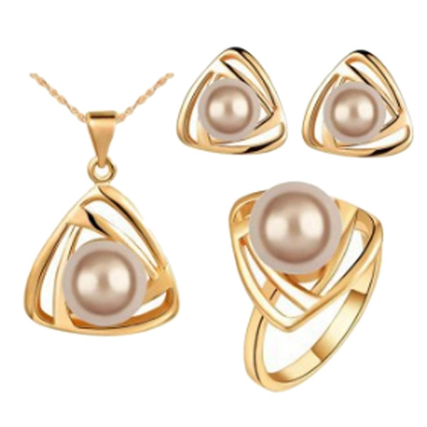 Vogue Individual Style Funny New Goods Creative Ring Pearl Stud Earring Necklace Jewelry Set Novelty Chic