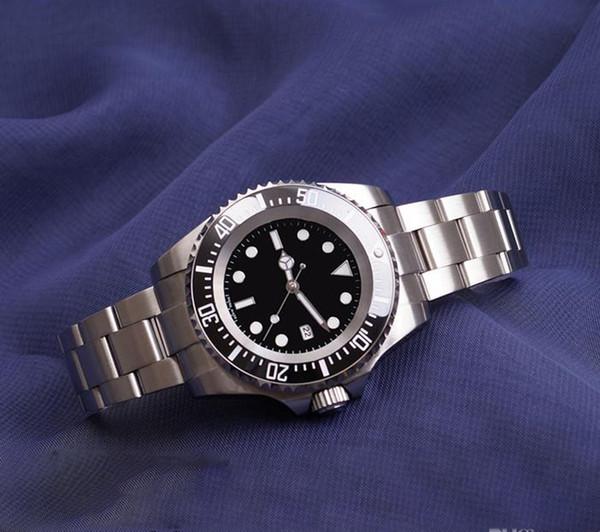 Reloj para hombre Bisel de cerámica profunda SEA-Dweller 126660 44 mm Cierre de deslizamiento deslizante de acero Stanless Mecánico automático Relojes para hombre Chrono Reloj