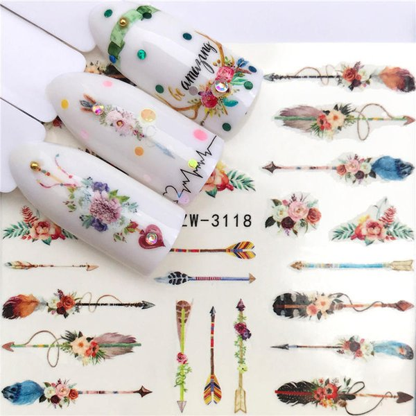1 Sheet Optional Different Colors Feather Fashionable Nail Art Decor Water Transfers Nail Sticker For Ladies Decals