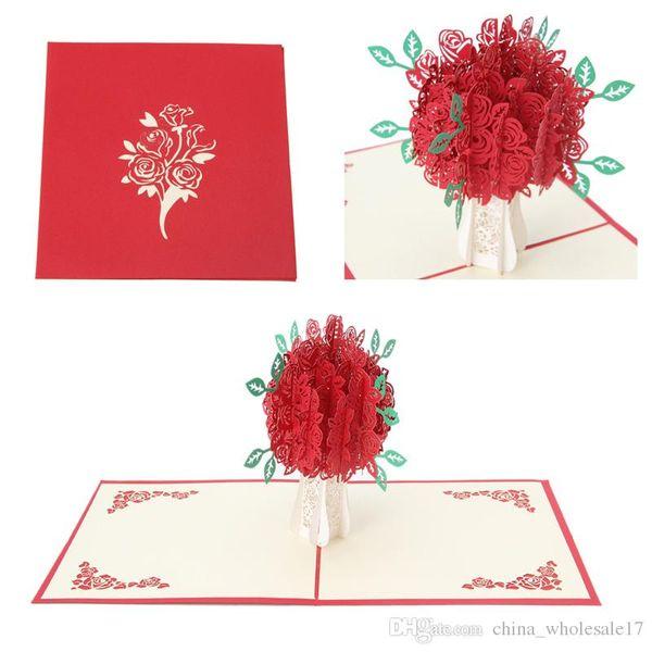 3D Gül Tebrik Düğün Kartı Pop Up Kağıt Kesim Kartpostal Doğum Günü Düğün Sevgililer Hediye Ücretsiz Kargo