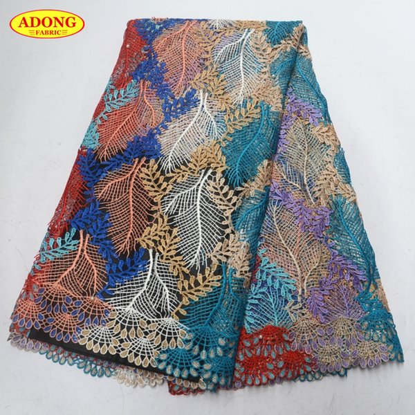 African lace fabric Water soluble lace fabric Hot Guipure lace Embroidery With Beads and Stone 5 yards/pcs for Women,Clothing