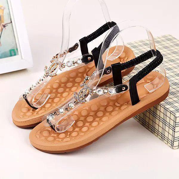 2019 nuovi sandali delle donne della boemia di cristallo tacco piatto sandalia strass catena donne scarpe infradito perizoma zapatos mujer
