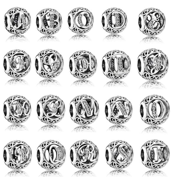 925 Sterling Silver Initial Alphabet Letter A-Z bead with CZ Ball Charm Fit Original Pandora Charms Bracelet for Women Diy Jewelry Making
