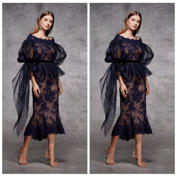 Half Sleeves Lace Appliques Sheath Black Evening Dresses Tea Length 2019 Custom Plus Size Special Occasion Party Gowns Vestidos De Prom Gown