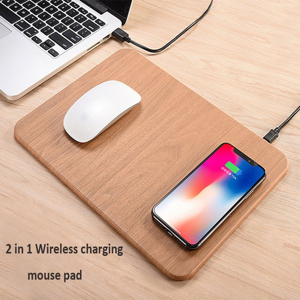 Qi Wireless Charger Mouse Pad PU Leather Multifunctional Wireless Fast Charging Standard 5V 2A Multi-function Desktop Ultra-thin