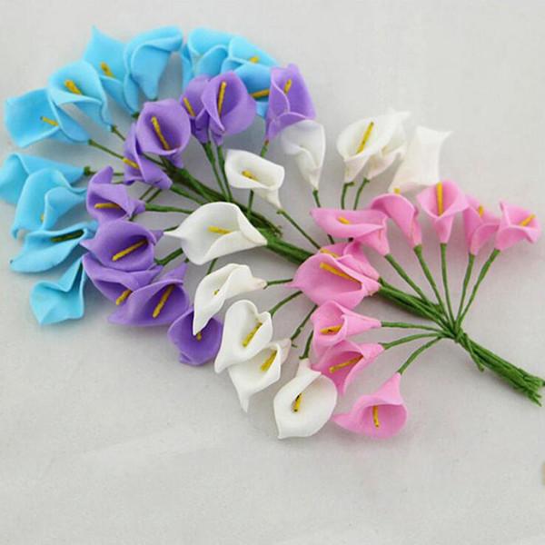 Mini Foam Calla Handmake Artificial Flower Bouquet Wedding Decoration DIY Wreath Gift Box Scrapbooking Craft Fake Flower 12pcs
