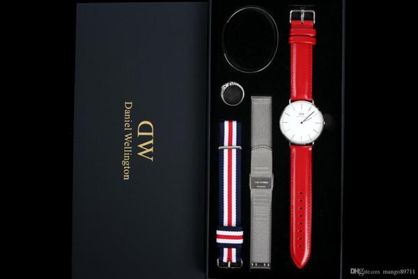 Designeruhren Herren Daniel Wellington Dw Uhren Herren Sport Freizeituhr Damen 36mm Mode Quarzuhr 5pcs / set Armbanduhr