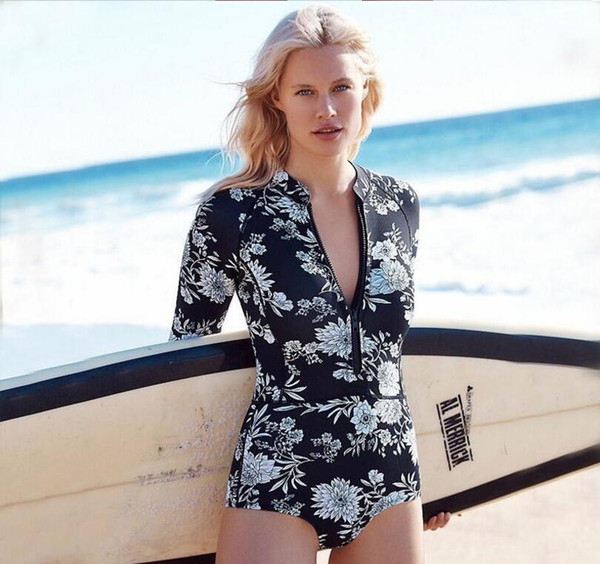best selling 2016professional Rash Guard Green Floral One Piece High Waist Swimwear Women Long Sleeve Swimsuit Full Body Bathing Suit Bodysuit Sporty Sur