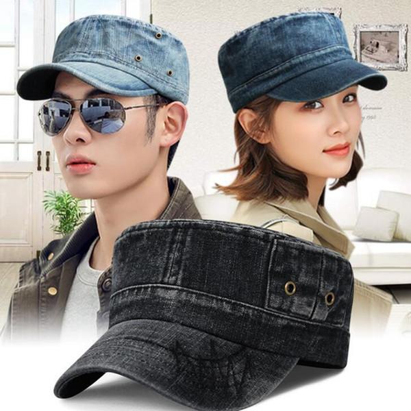 Мужская джинсовая военная шляпа для женщин и мужчин регулируемых джинсов плоской крышка лето Snapback шлем армия крышка