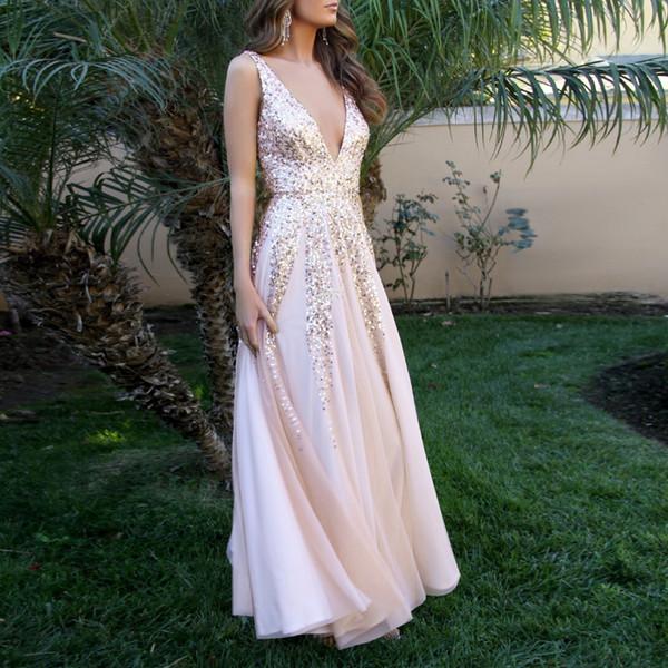 Summer Party Dress Женская одежда 2019 Элегантные блестки длинные платья Woman Party Night Сексуальное платье Дамы Глубокие платья с V-образным вырезом